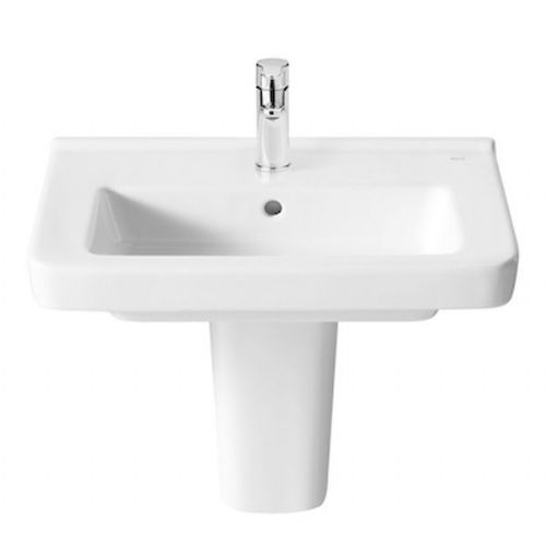 Roca Dama-N Compact Square Basin With Semi Pedestal - 600mm - 1 Tap Hole - White